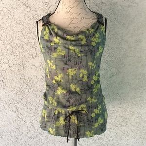 DKNY Jeans Floral Mesh Tank Top Green Blouse 👚